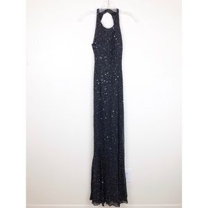 Scala 100% Silk Beaded Maxi Backless Dress Gown XS